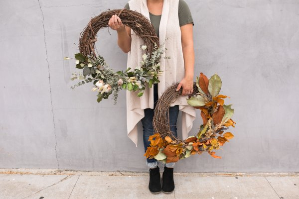 Twig & Vine Florals fall wreath workshop